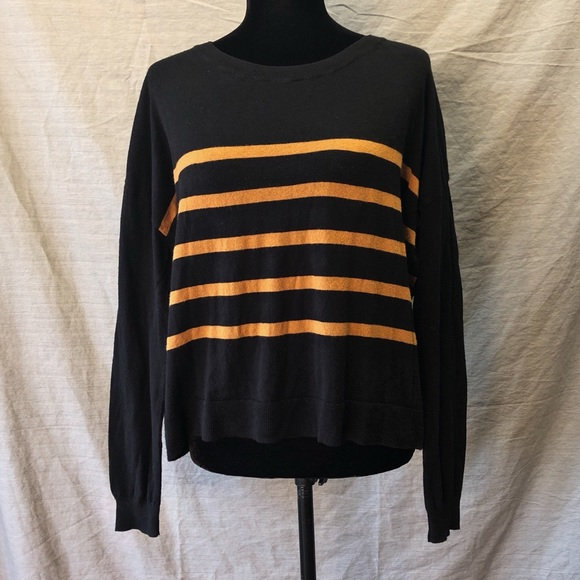 Nordstrom Sweaters Bp Black And Yellow Striped Pullover Poshmark